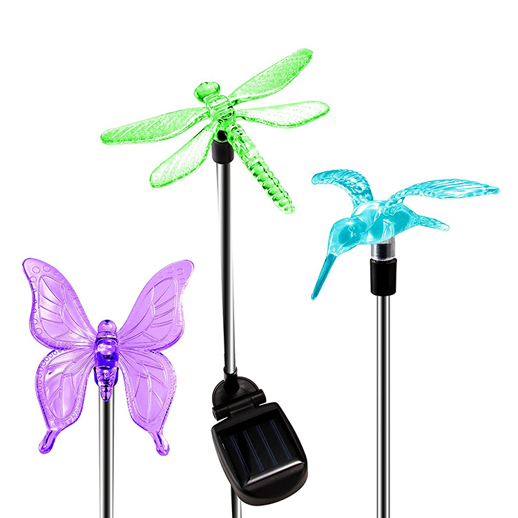 Butterfly dragonfly hummingbird Mini stake solar tube led garden light outdoor yard lighting