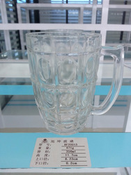 350ml clear beer glass mug checked and dot design