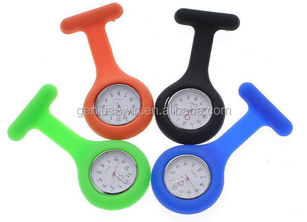 Fashion Nurse Watch Brooch Fob pocket Tunic Quartz Movement Silicone Nurse Watch
