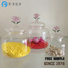 Clear Glass Candy Jar With Flower Lid