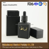 FDA tested 30ml frosted glass bottles black rectangle glass dropper bottles for eliquid bottles