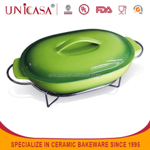 UNICASA cheap ceramic oval dinner plate with lid,spoon and rack