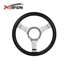 "Special Design Widely Used 14"" Classic Leather Half Wrapped Black Racing Steering Wheel"