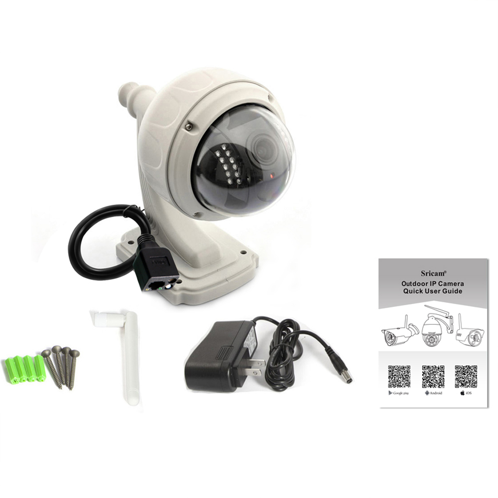 Sricam SP015 P2P IP Wireless Camera waterproof Wifi IP Outdoor Camera Dome HD 720P 4X Zoom PTZ Surveillance Camera