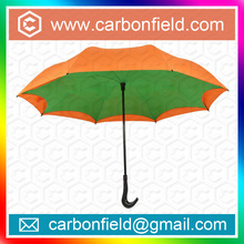 Unbreakable fashion double canopy /layer fiberglass up side down reverse customize parasol umbrella.