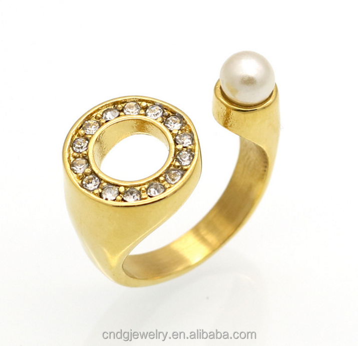 Hot Sale Popular Simple Design U-shaped Open Ring Large Round Diamond Pearl 18k Gold Women Ring