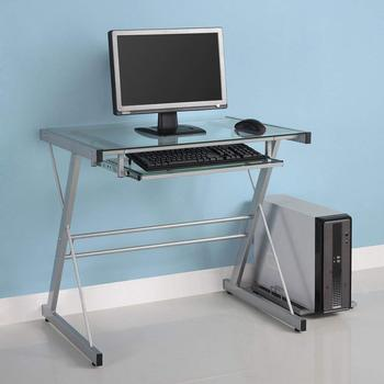 Modern Glass Metal Computer Desk Transparent and black design, Home and Office computer table