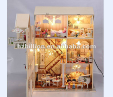 simulation furniture diy wooden doll house with light