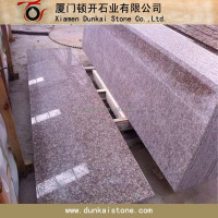 Peach Red G687 Granite Treads and Risers for staircase