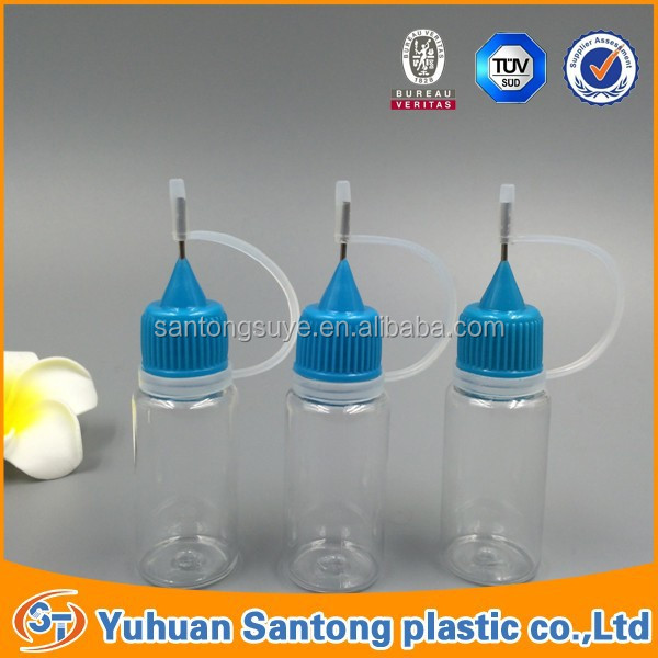 PET empty clear plastic e cig liquids dropper <strong>bottle</strong> with metal needle cap