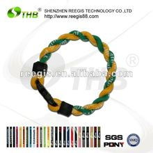 charm braided nylon cord bracelet with titanium negative ion