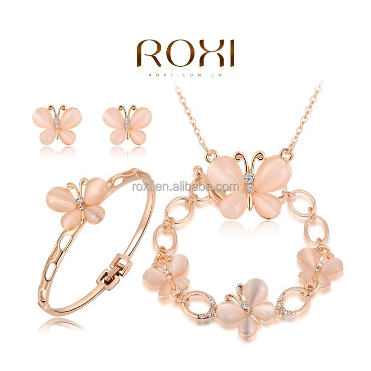 2015 ROXI Hot selling Rose Gold Plated Butterfly jewelry <strong>set</strong> with Opals Necklace Wholesale Luxury fashion jewelry accessories