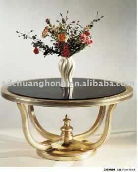 gold leaf hotel lobby flower stand/round wooden hotel lobby center table CH-H001