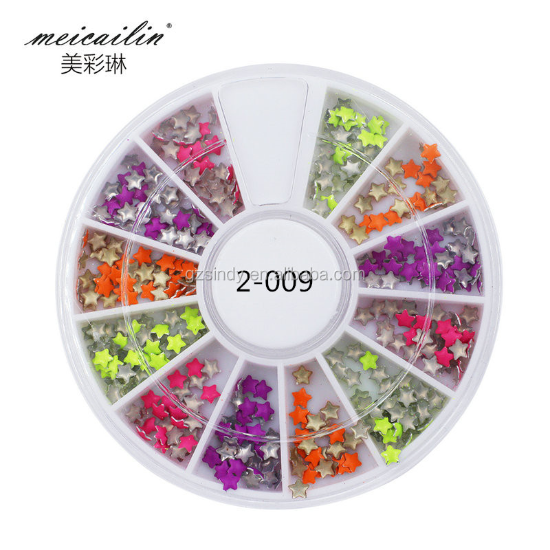 Nail supplies nail art designs color five star metal studs rivets nail art wheel case