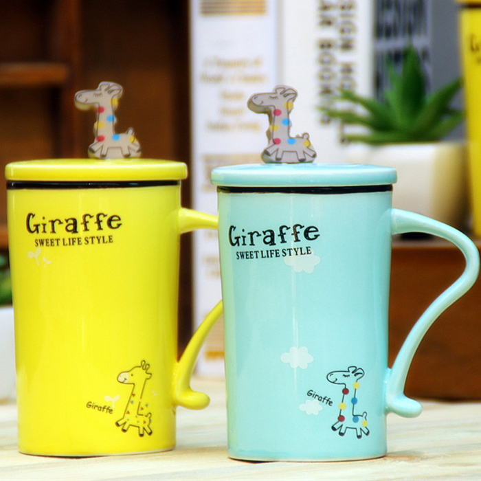 OXGIFT wholesale animal giraffe ceramic coffee mug with cover and spoon