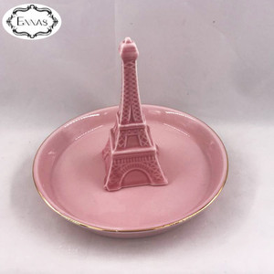 Ceramic Crafts Eiffel Tower Ceramic Jewelry Tray Home Decor