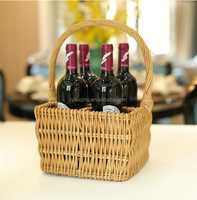 factory wholesale natural willow / wicker weaving wine holder basket for four bottles with handle
