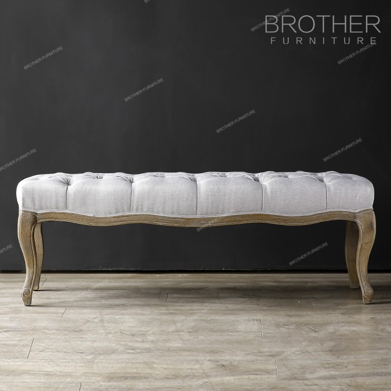 Classic upholestery bedroom wooden frame button long fabric ottoman foot stool