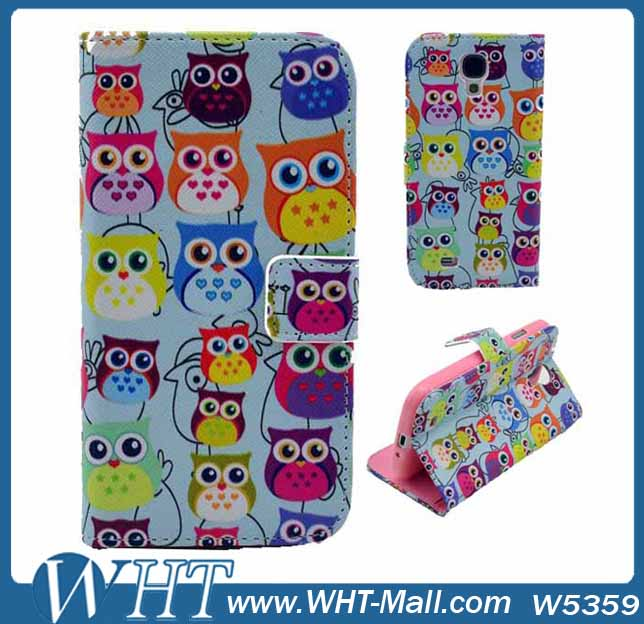 2014 New Products OEM Custom Printing Leather Flip Mobile OWL Phone Case For Samsung Galaxy S5 i9600 Pocket Wallet Purse Cover