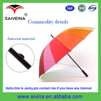Promotional wholesale cheap custom logo OEM&ODM high quality Perfect 16 Canopies fashion hot selling straight golf umbrella