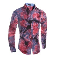 1pc sale cheaper price printing flowers slim fit casual style Hawaii holidays flowers men shirt fashion