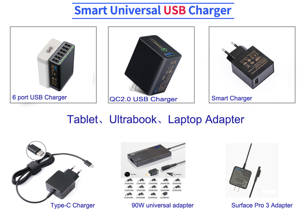 2016 new arrival super slim 90W automatic universal laptop adapter with 5V 2A USB Charger and 17 tips
