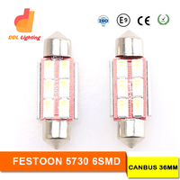 Wholesale LED Canbus Festoon 36MM 6leds 5730SMD 12V DC led w5w canbus festoon led 36mm festoon dome lamp