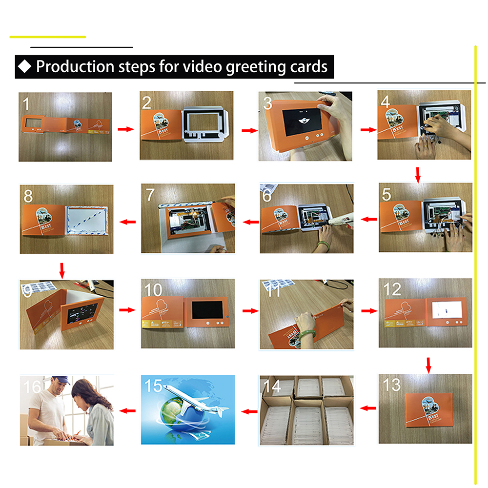 Frofessional Manufacturer Screen built in paper LCD video card for Advertising, promotion, gifts