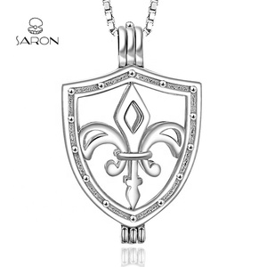 Sharon S925 Fleur De Lis Shield Sterling Silver Pearl Cage Pendant Charms Wholesale