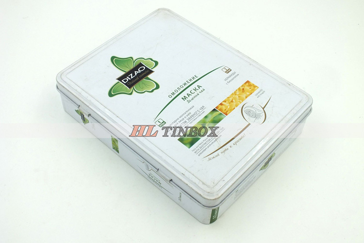 Rectangular Facemask Cosmetics Metal Tin Box with Hinged Lid