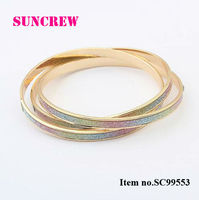 2013 New fashion accessories tricyclic dull polish bangles colorful silver bangle