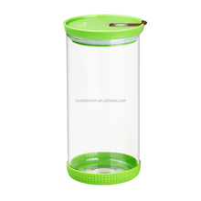 microwave oven safe heat resistant borosilicate glass airtight food storage jar with vent on plastic lid
