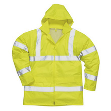 High Visibility Yellow Safety Reflective Rain Coat For Men