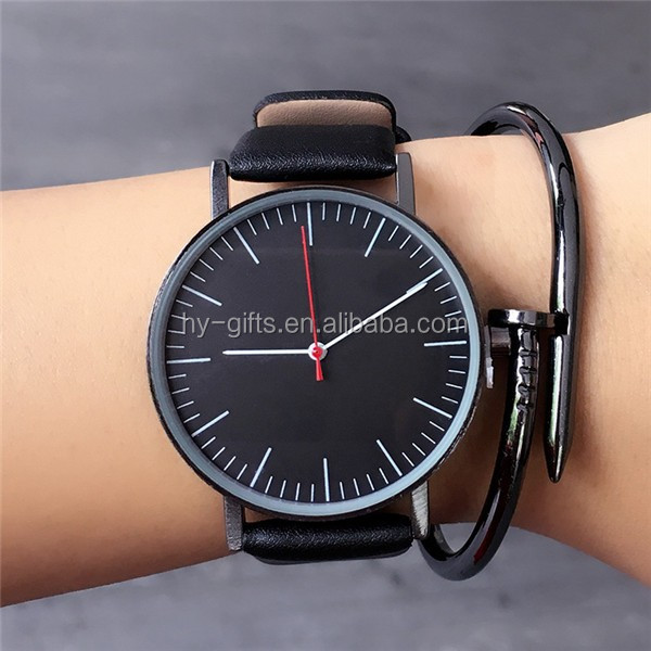 hot sale leather men watch waterproof leather band men watches