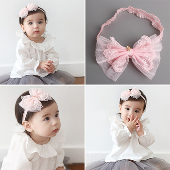 MS70019W Baby girls pink bowknot tulle hair band