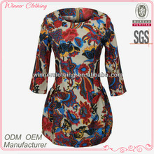 Women 3/4 sleeve tight fit printed dress designs fat ladies with zip