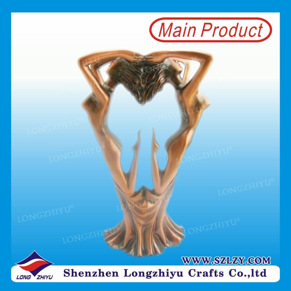 Custom 3d dance zinc casting metal trinket antique bronze sculpture hot cast decoration