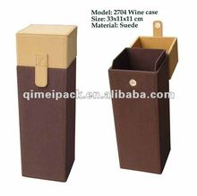 Leather wine boxes with hinged lid