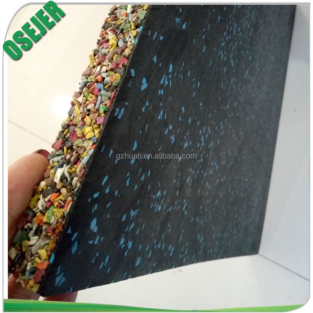 Chromatic rubber granules and resin non-toxic gym rubber floor mat for indoor gymnasium