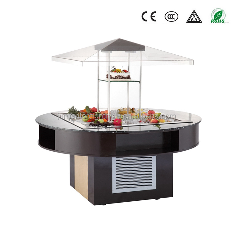 China manufacturer high quality luxury round type buffet display wooden counter refrigerated storage cabinet with CE
