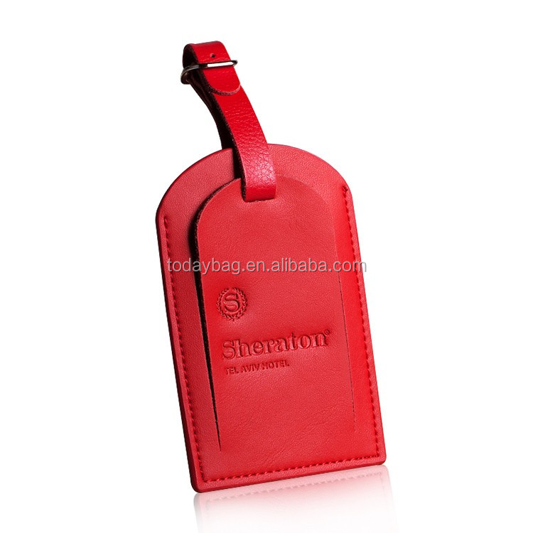 red pu leather luggage case tag debossed logo