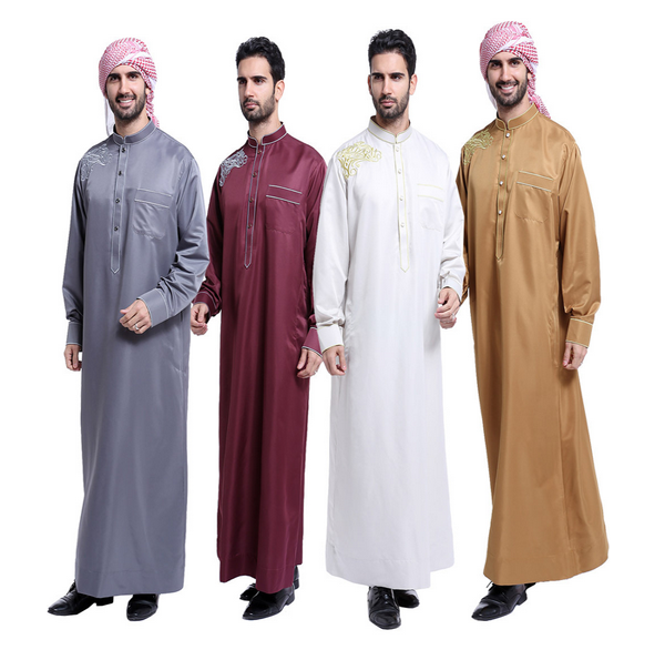 garment factory abaya 2017 New Arrival High Quality Embroidered Muslim Dress Fashion men wholesale Dubai Open Abaya