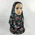 2017 New Arrival Floral Printed double Loops 2 slips Jersey Muslim Instant Hijabs Islamic scarves jls131