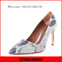 Luxurious elegant fashion new style high quality silver diamond pointed toe high heel shoes sexy snake pattern