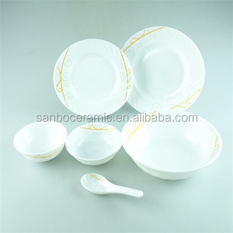 32PCS Glass dinnerware set with color box in stock