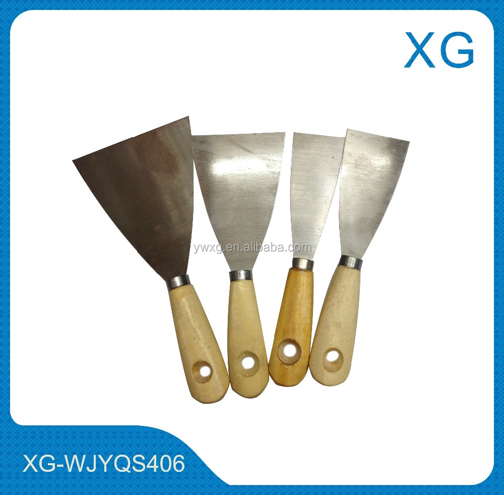 4PC Wooden Handle Stainless Steel Paint Wall Paper Scraper Putty Knife