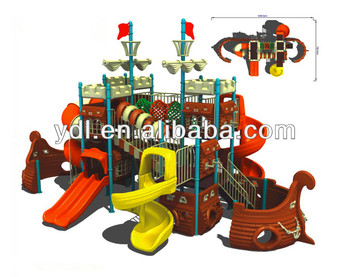 LLDPE funny design outdoor slides Pirate Ship.