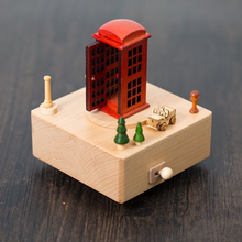The Red Telephone Miniature Music Box Wooden London Tourist Souvenir