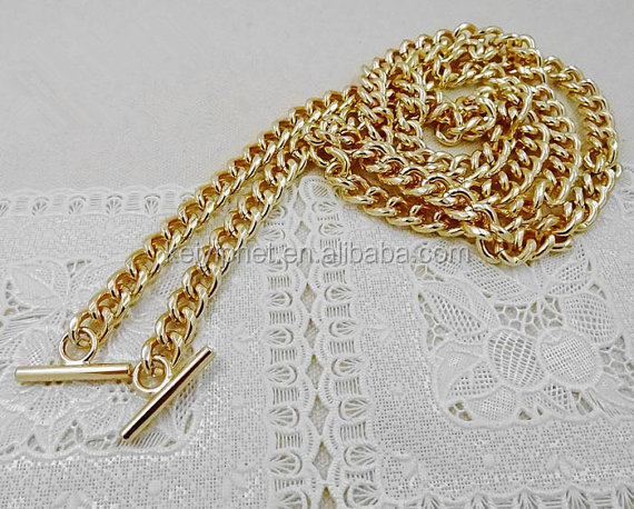 Shoulder Strap Metal links Gold Plated T Clasp for bag chain
