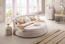 Elegant Noble Fashion Designs Modern French Leather King Size Round Bed